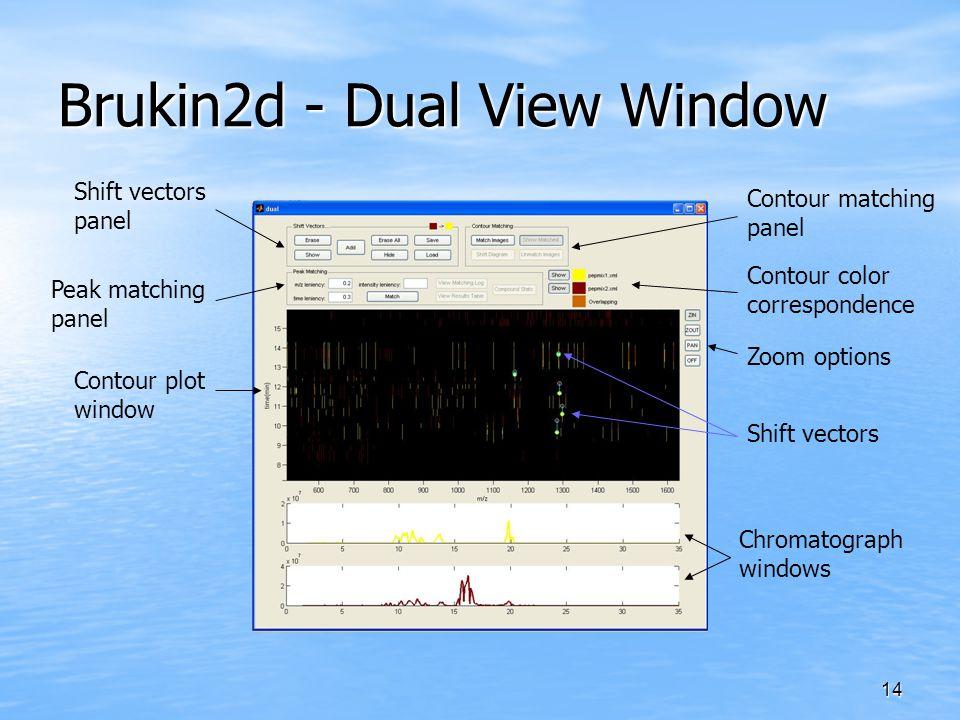 14 Brukin2d - Dual View Window Shift vectors panel Peak matching panel Contour plot window Chromatograph windows Contour matching panel Zoom options Contour color correspondence Shift vectors