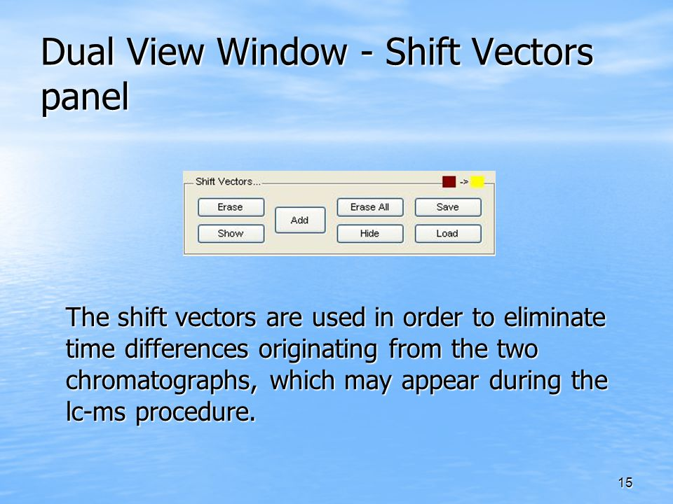 15 Dual View Window - Shift Vectors panel The shift vectors are used in order to eliminate time differences originating from the two chromatographs, w