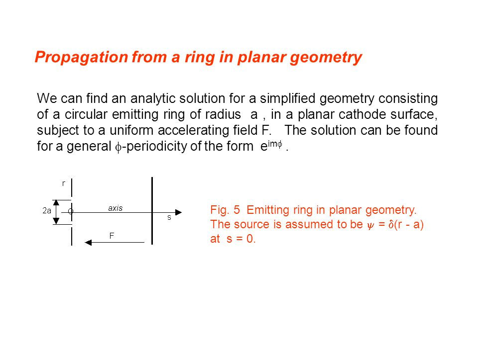 Propagation from a ring in planar geometry We can find an analytic solution for a simplified geometry consisting of a circular emitting ring of radius a, in a planar cathode surface, subject to a uniform accelerating field F.