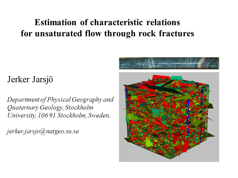 Estimation of characteristic relations for unsaturated flow through rock fractures Jerker Jarsjö Department of Physical Geography and Quaternary Geology, Stockholm University, 106 91 Stockholm, Sweden.