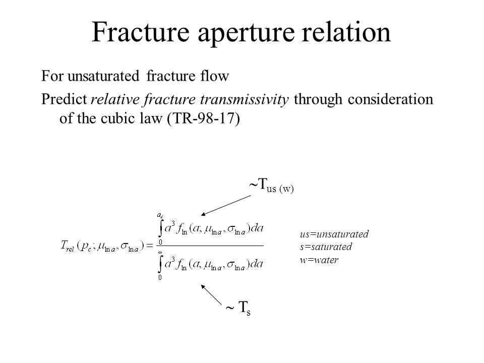 Fracture aperture relation For unsaturated fracture flow Predict relative fracture transmissivity through consideration of the cubic law (TR-98-17)  T s  T us (w) us=unsaturated s=saturated w=water