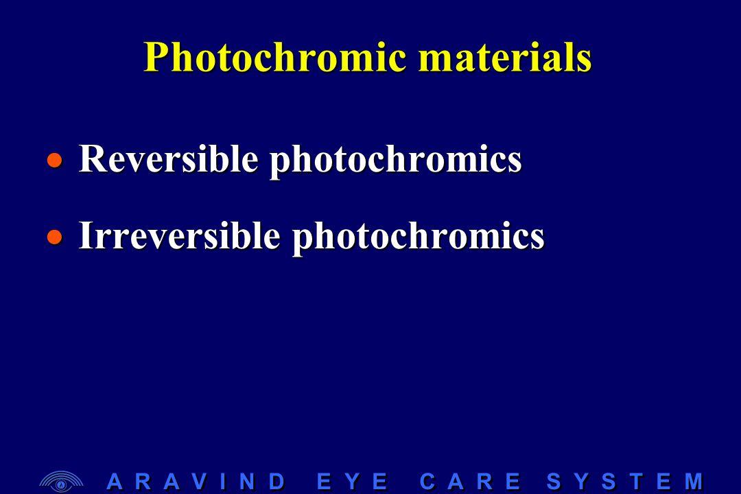 A R A V I N D E Y E C A R E S Y S T E M Photochromic materials  Reversible photochromics  Irreversible photochromics