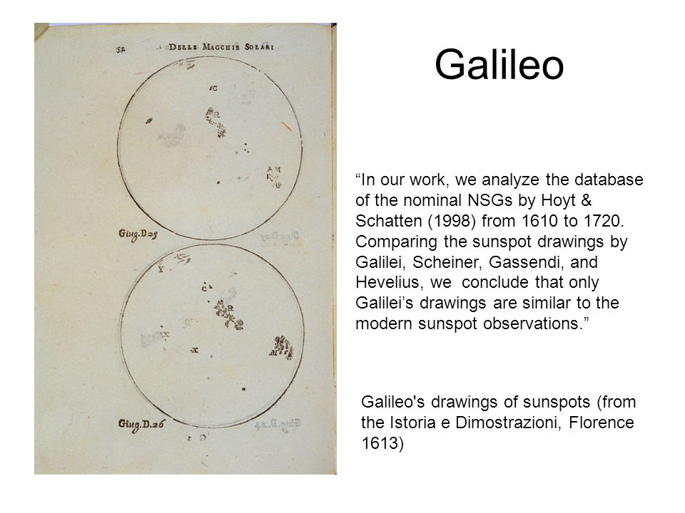 Galileo In our work, we analyze the database of the nominal NSGs by Hoyt & Schatten (1998) from 1610 to 1720.