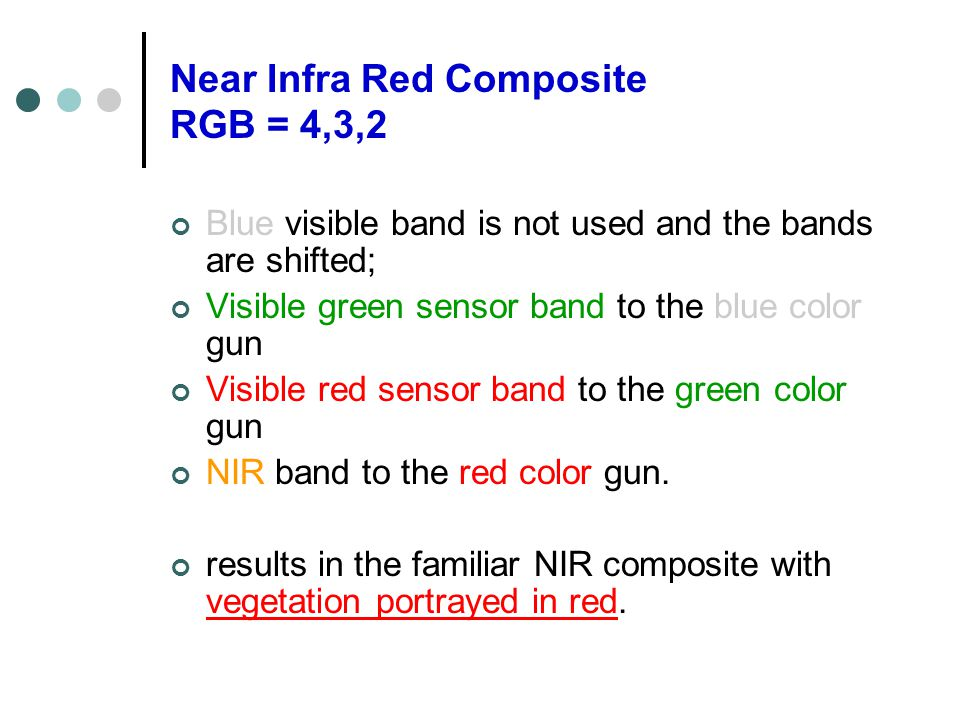 Near Infra Red Composite RGB = 4,3,2 Blue visible band is not used and the bands are shifted; Visible green sensor band to the blue color gun Visible red sensor band to the green color gun NIR band to the red color gun.