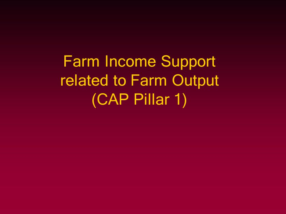 Farm Income Support related to Farm Output (CAP Pillar 1)