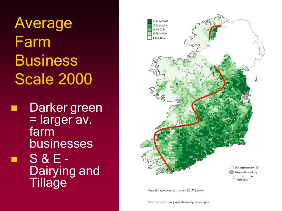 Average Farm Business Scale 2000 Darker green = larger av.