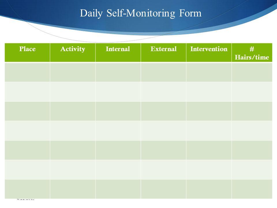 PlaceActivityInternalExternalIntervention# Hairs/time Daily Self-Monitoring Form