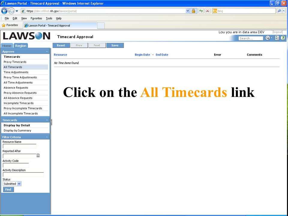 Click on the All Timecards link