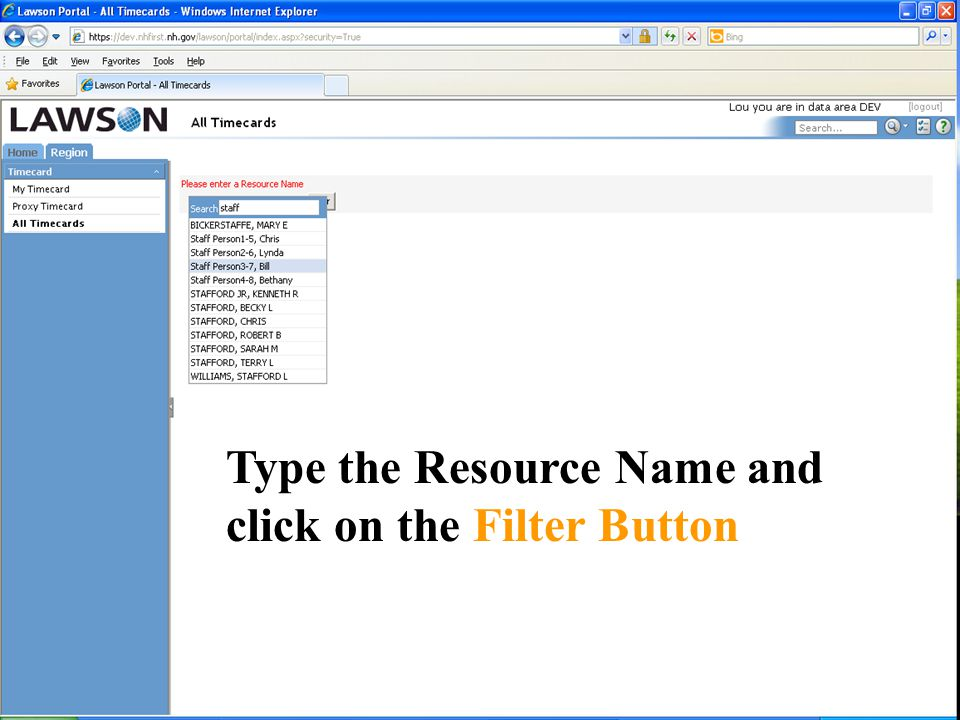Type the Resource Name and click on the Filter Button