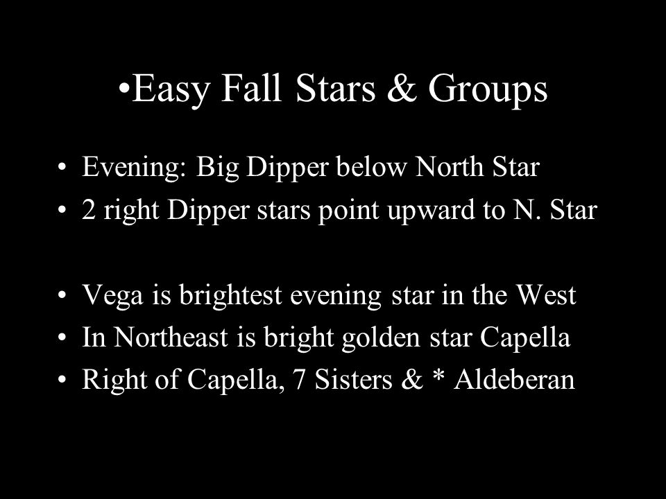 Easy Fall Stars & Groups Evening: Big Dipper below North Star 2 right Dipper stars point upward to N.