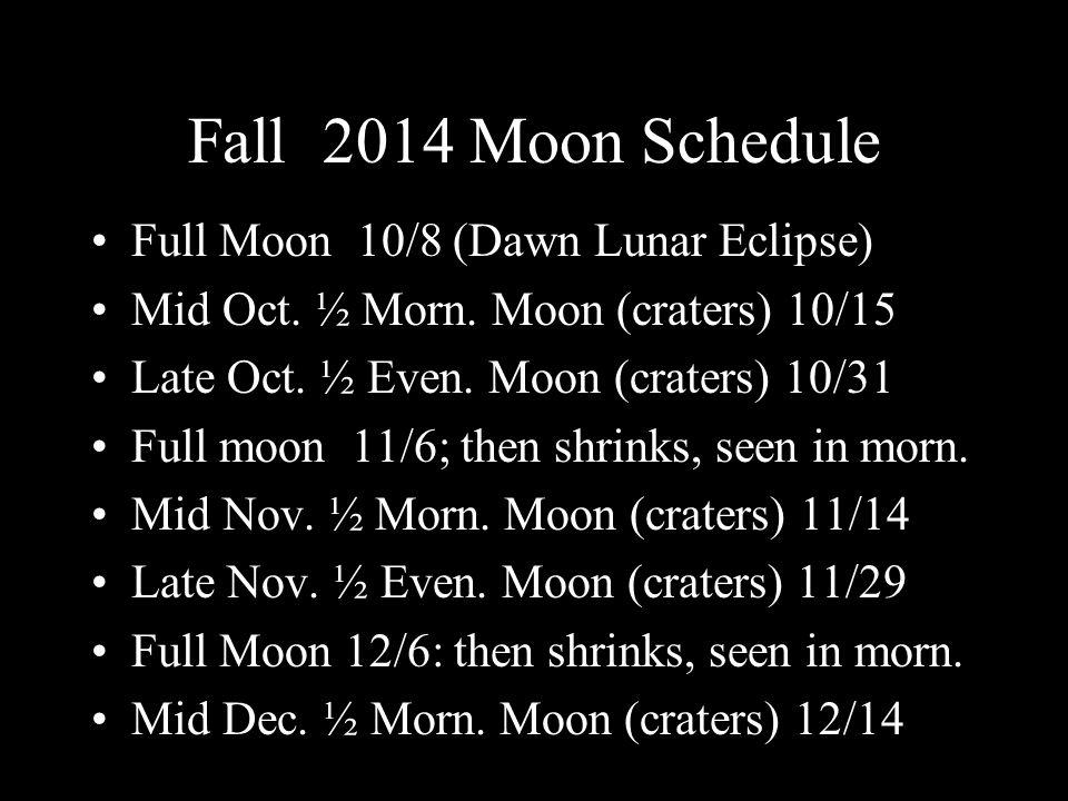 Fall 2014 Moon Schedule Full Moon 10/8 (Dawn Lunar Eclipse) Mid Oct.