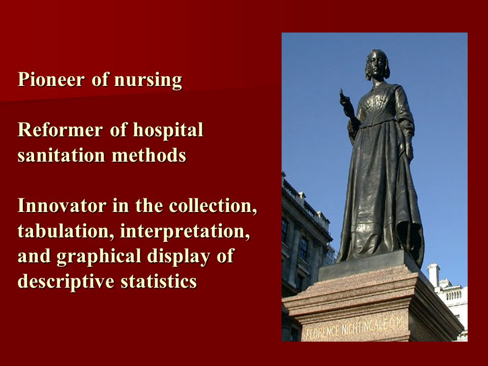 Pioneer of nursing Reformer of hospital sanitation methods Innovator in the collection, tabulation, interpretation, and graphical display of descriptive statistics