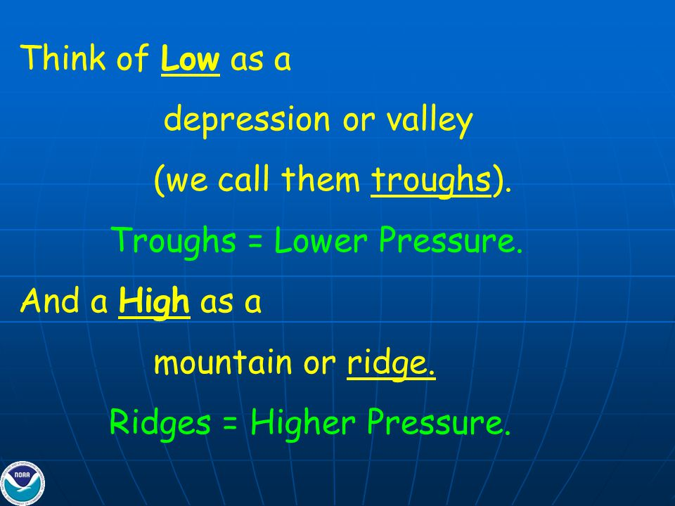 Think of Low as a depression or valley (we call them troughs).