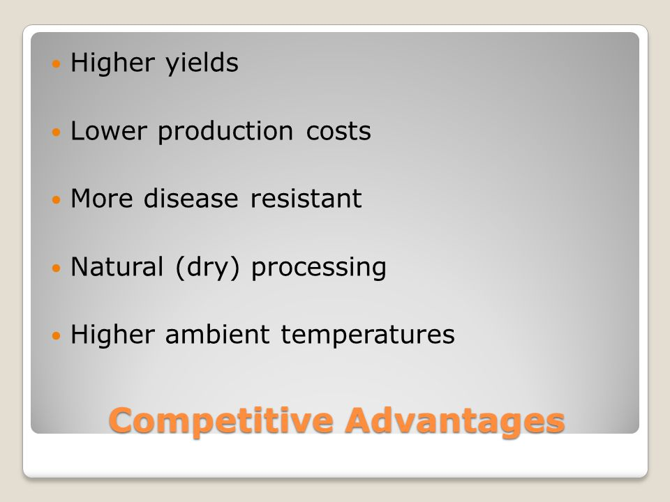 Competitive Advantages Higher yields Lower production costs More disease resistant Natural (dry) processing Higher ambient temperatures