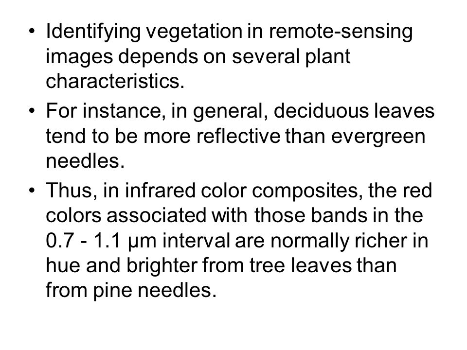Identifying vegetation in remote-sensing images depends on several plant characteristics.
