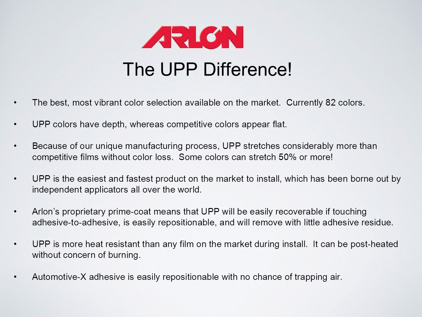 The UPP Difference! The best, most vibrant color selection available on the market. Currently 82 colors. UPP colors have depth, whereas competitive co