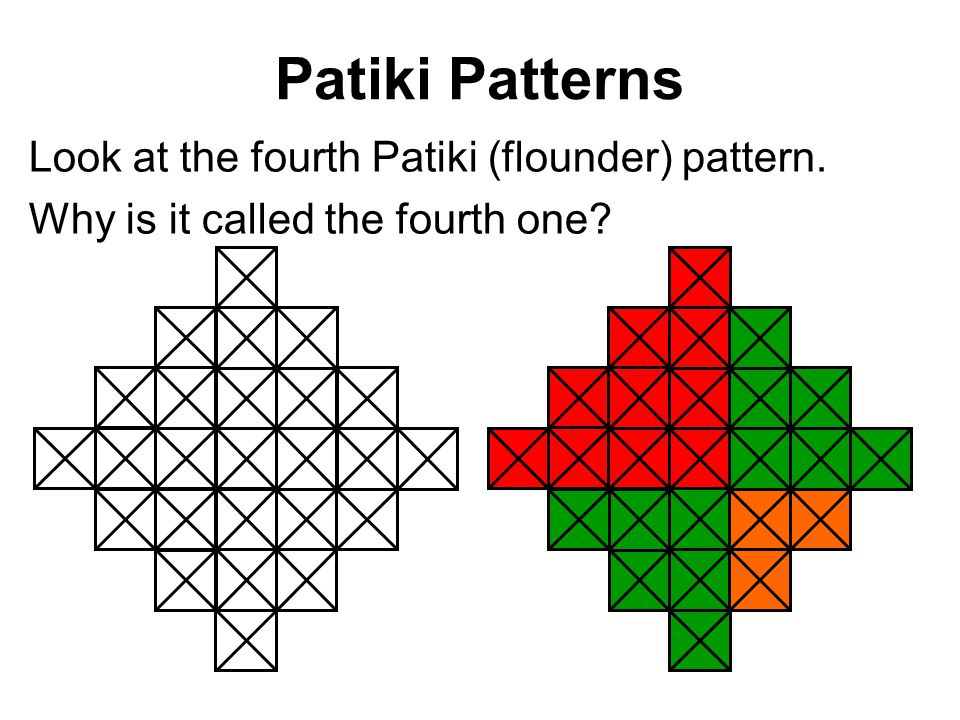 Patiki Patterns Look at the fourth Patiki (flounder) pattern. Why is it called the fourth one