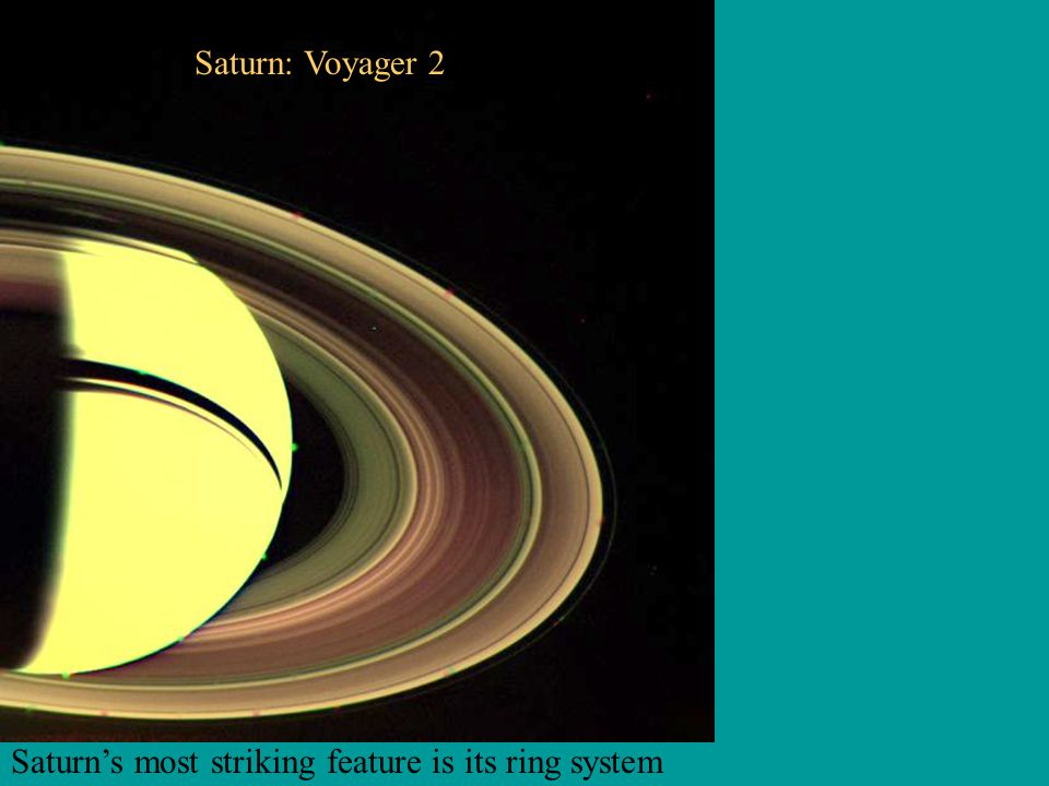 Saturn's most striking feature is its ring system Saturn: Voyager 2