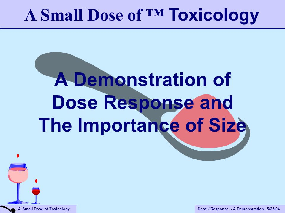 Dose / Response - A Demonstration 5/25/04 A Small Dose of Toxicology A Demonstration of Dose Response and The Importance of Size A Small Dose of ™ Tox
