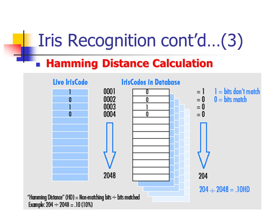 Iris Recognition cont'd…(3) Hamming Distance Calculation Hamming Distance Calculation