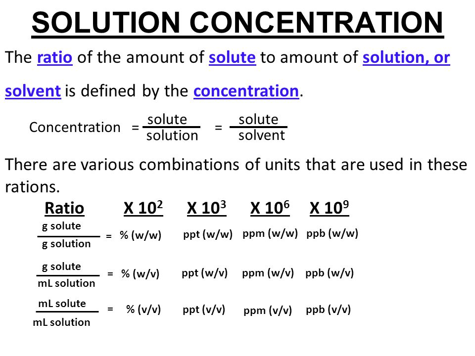 SOLUTION CONCENTRATION The ratio of the amount of solute to amount of solution, or solvent is defined by the concentration. solute = solvent solution