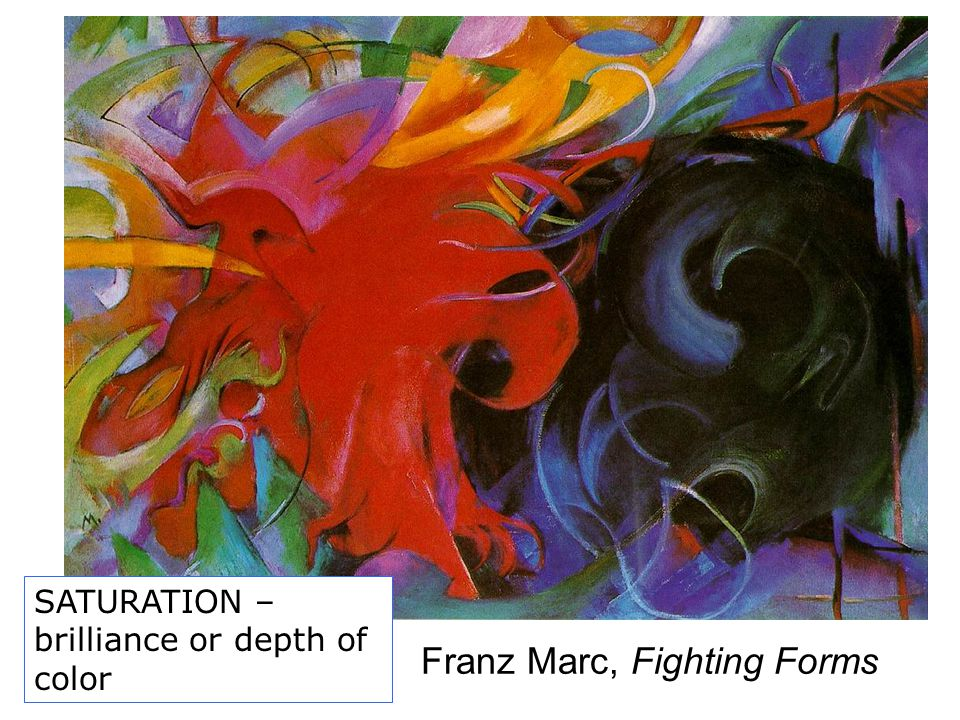 Franz Marc, Fighting Forms SATURATION – brilliance or depth of color