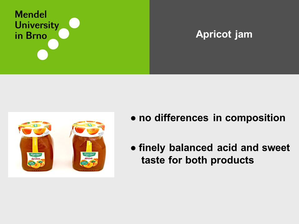 Apricot jam ● no differences in composition ● finely balanced acid and sweet taste for both products