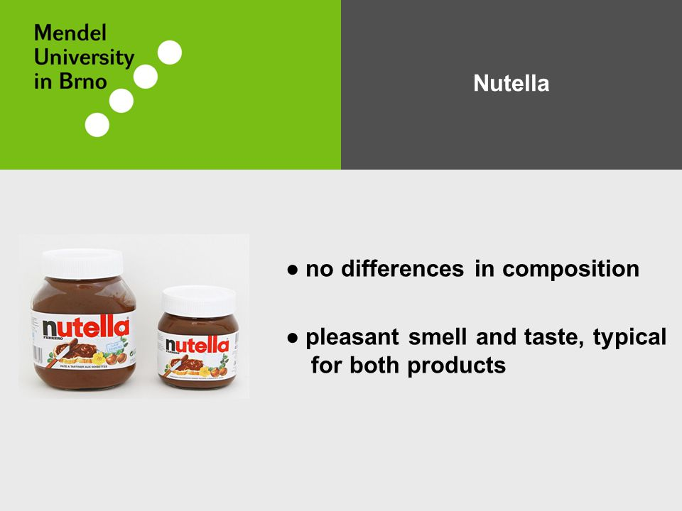 Nutella ● no differences in composition ● pleasant smell and taste, typical for both products