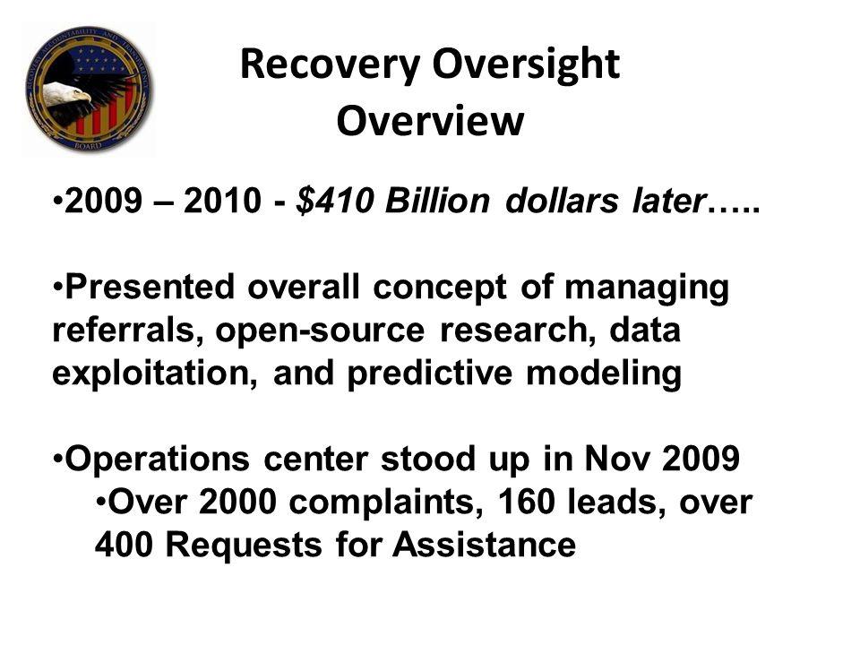 2009 – 2010 - $410 Billion dollars later…..
