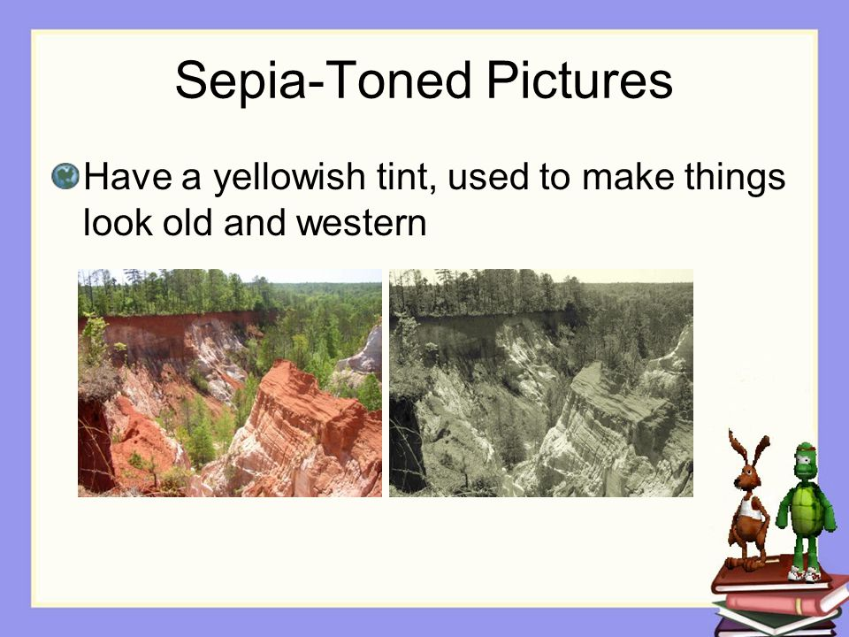 Sepia-Toned Pictures Have a yellowish tint, used to make things look old and western