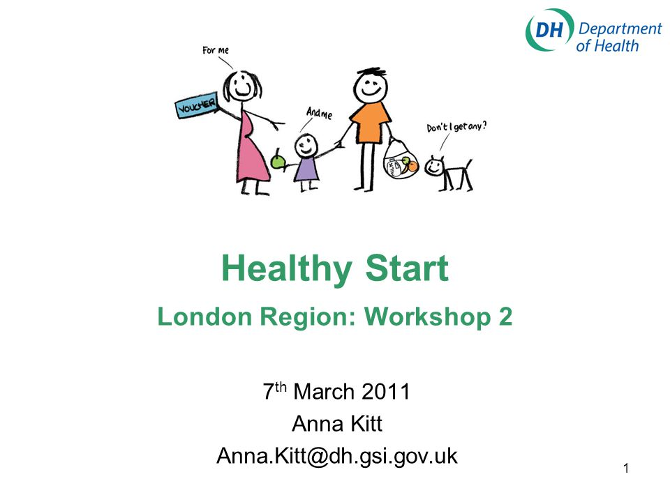 1 Healthy Start London Region: Workshop 2 7 th March 2011 Anna Kitt Anna.Kitt@dh.gsi.gov.uk