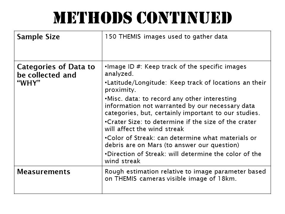 Methods Continued Sample Size 150 THEMIS images used to gather data Categories of Data to be collected and WHY Image ID #: Keep track of the specific images analyzed.