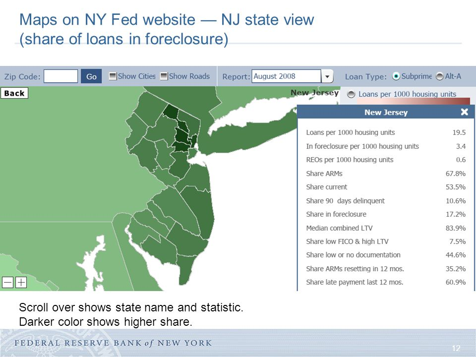 12 Maps on NY Fed website — NJ state view (share of loans in foreclosure) Scroll over shows state name and statistic.