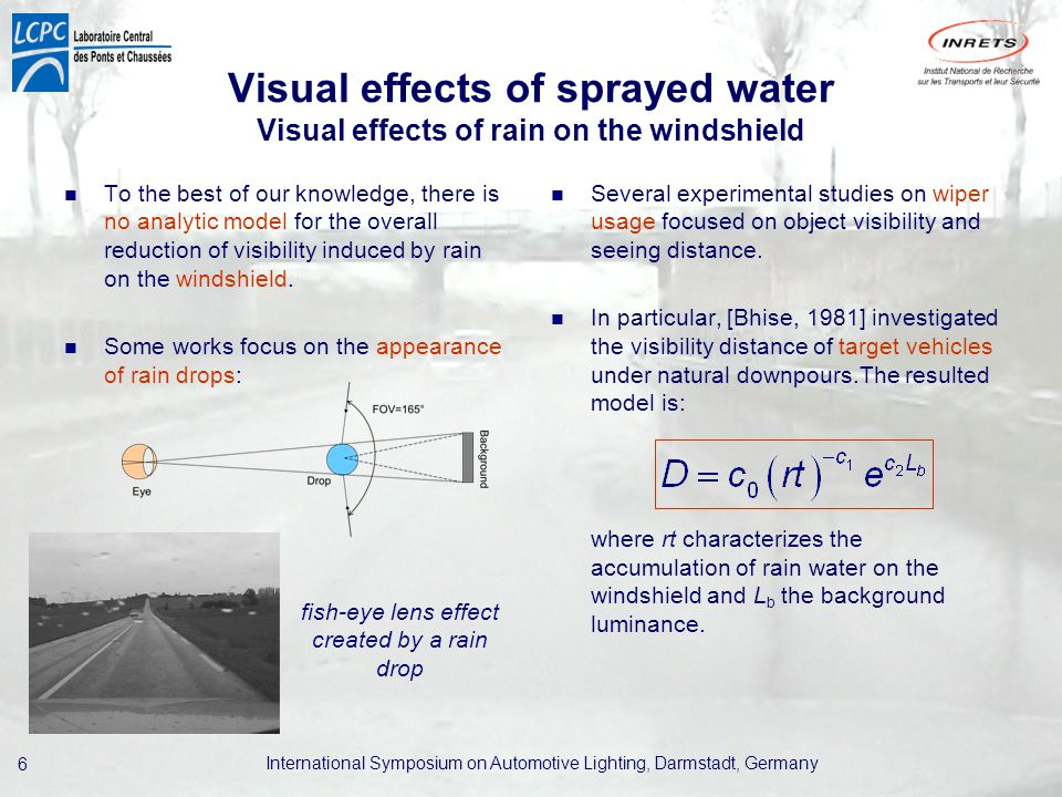 International Symposium on Automotive Lighting, Darmstadt, Germany 6 Visual effects of sprayed water Visual effects of rain on the windshield To the best of our knowledge, there is no analytic model for the overall reduction of visibility induced by rain on the windshield.