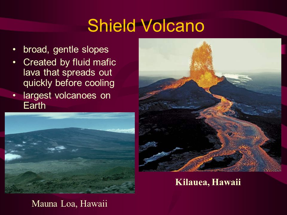 Shield Volcano broad, gentle slopes Created by fluid mafic lava that spreads out quickly before cooling largest volcanoes on Earth Mauna Loa, Hawaii Kilauea, Hawaii