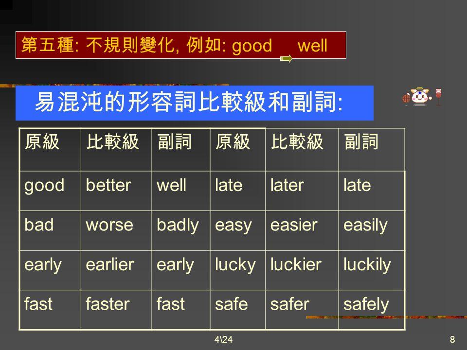 4\248 形容詞轉變為副詞的方式 第三種 : 形容詞字尾是子音 +y, 去掉 y+ily, 例如 : easy easily happy happily heavyheavilyhungry hungrily luckyluckily 第四種 : 形容詞字尾為 e, 去掉 e, 改為 y.