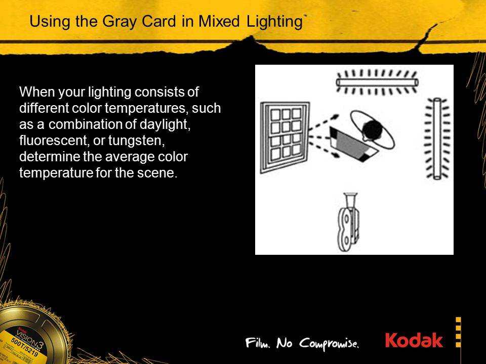 Using the Gray Card in Mixed Lighting When your lighting consists of different color temperatures, such as a combination of daylight, fluorescent, or tungsten, determine the average color temperature for the scene.