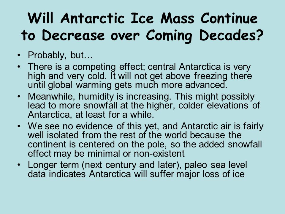 Will Antarctic Ice Mass Continue to Decrease over Coming Decades.