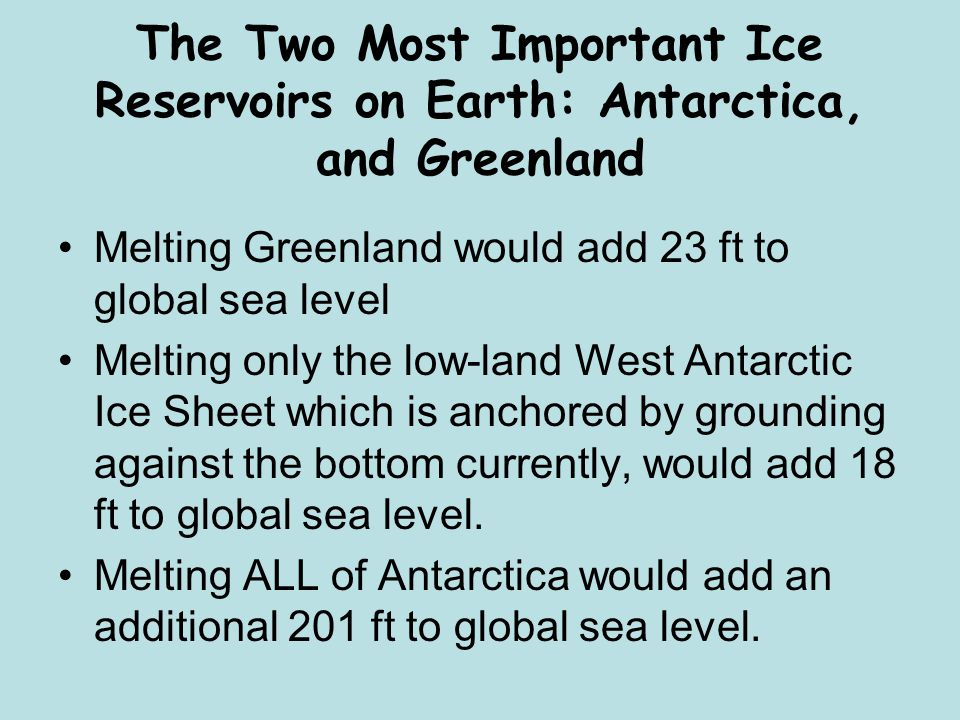 The Two Most Important Ice Reservoirs on Earth: Antarctica, and Greenland Melting Greenland would add 23 ft to global sea level Melting only the low-land West Antarctic Ice Sheet which is anchored by grounding against the bottom currently, would add 18 ft to global sea level.