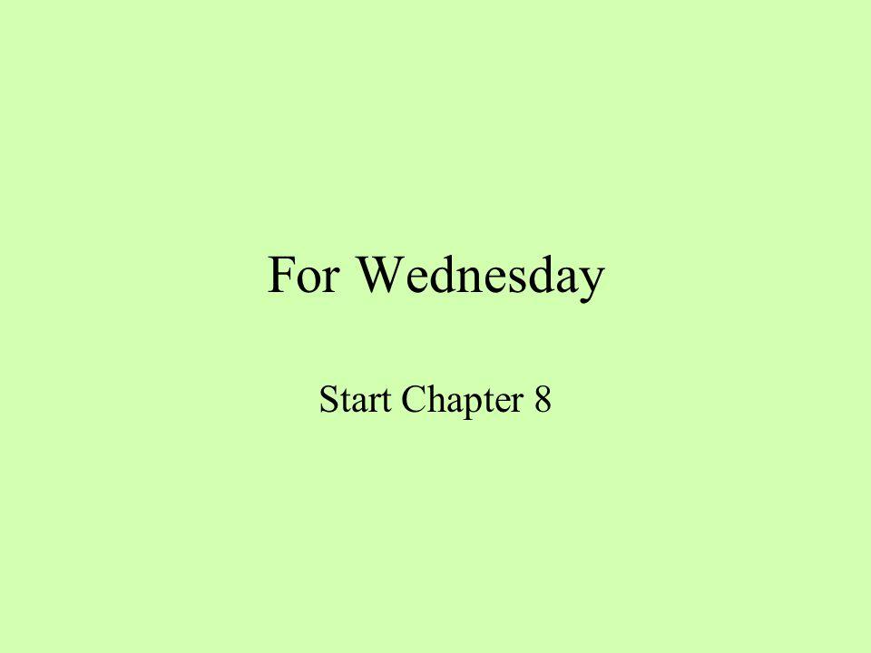 For Wednesday Start Chapter 8