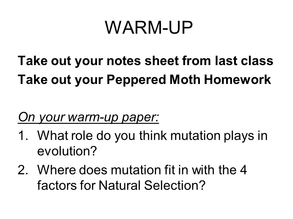 WARM-UP Take out your notes sheet from last class Take out your Peppered Moth Homework On your warm-up paper: 1.What role do you think mutation plays in evolution.