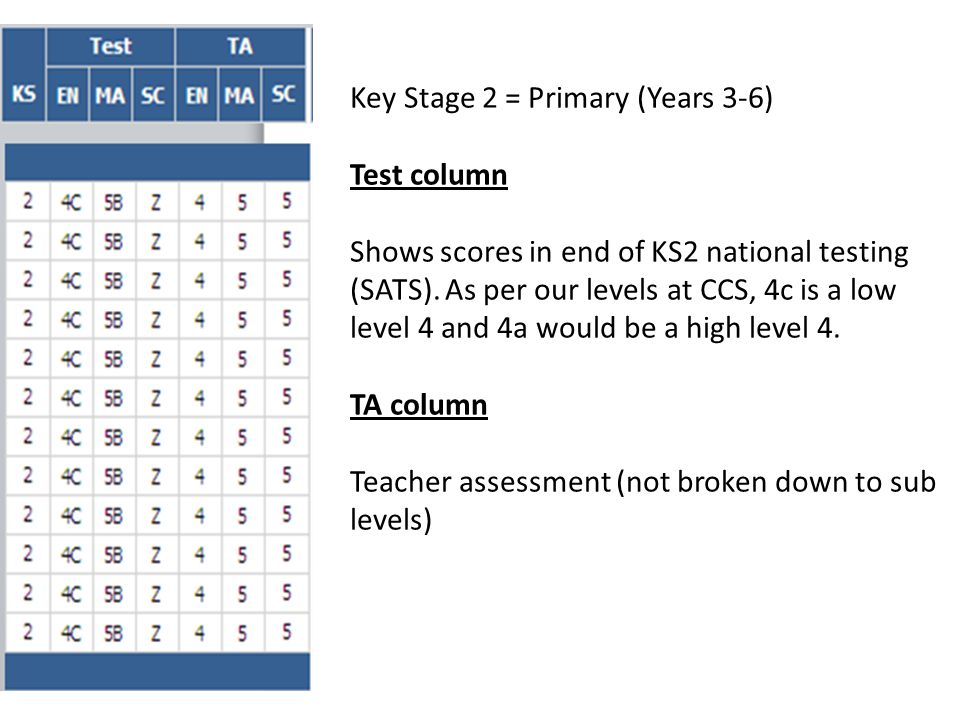 Key Stage 2 = Primary (Years 3-6) Test column Shows scores in end of KS2 national testing (SATS).