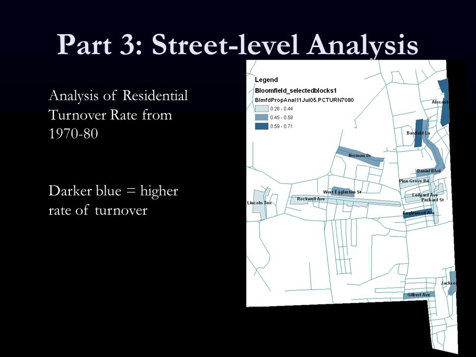 Part 3: Street-level Analysis Analysis of Residential Turnover Rate from 1970-80 Darker blue = higher rate of turnover
