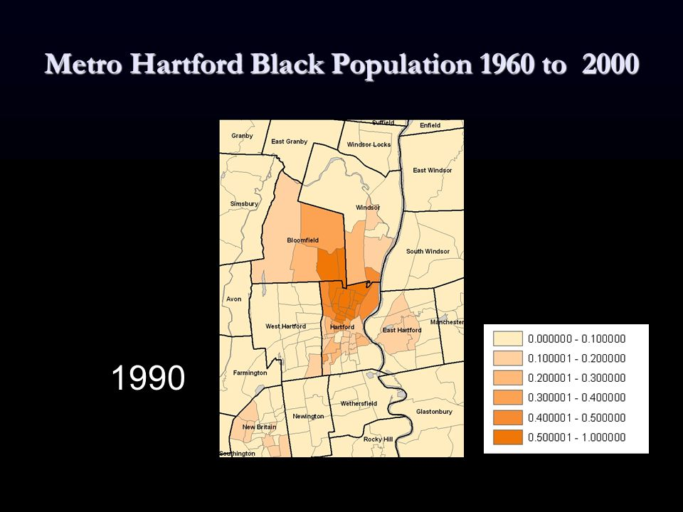 Metro Hartford Black Population 1960 to 2000 1990