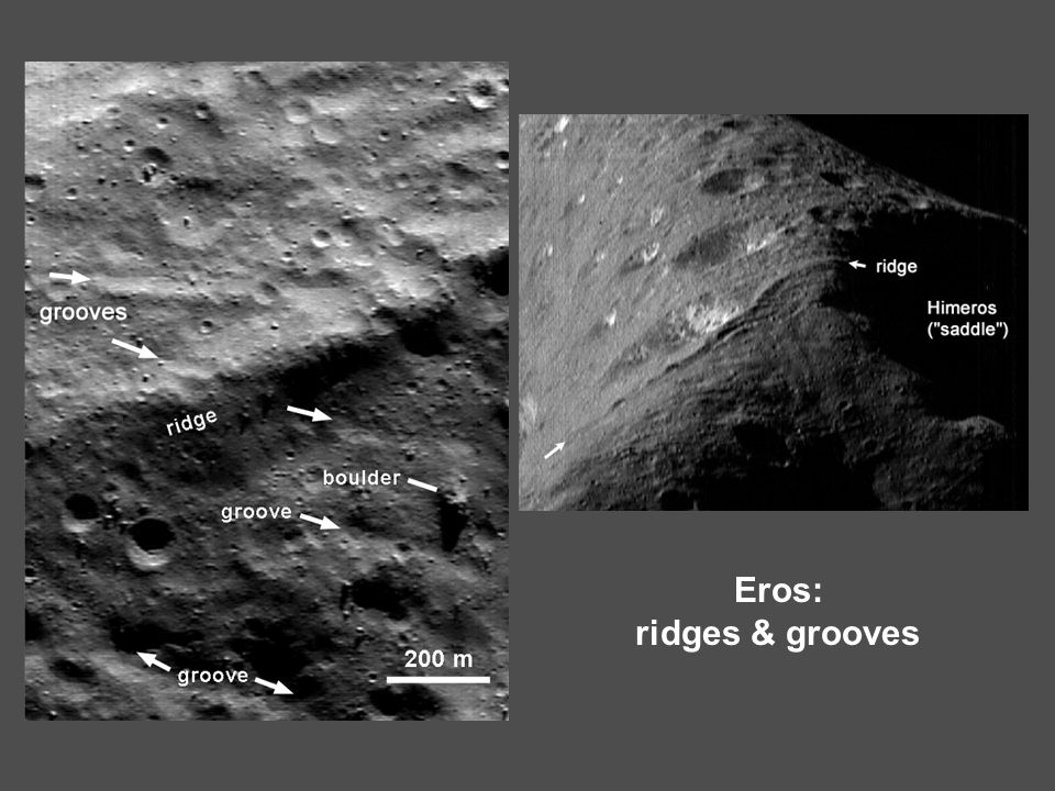 Eros: ridges & grooves