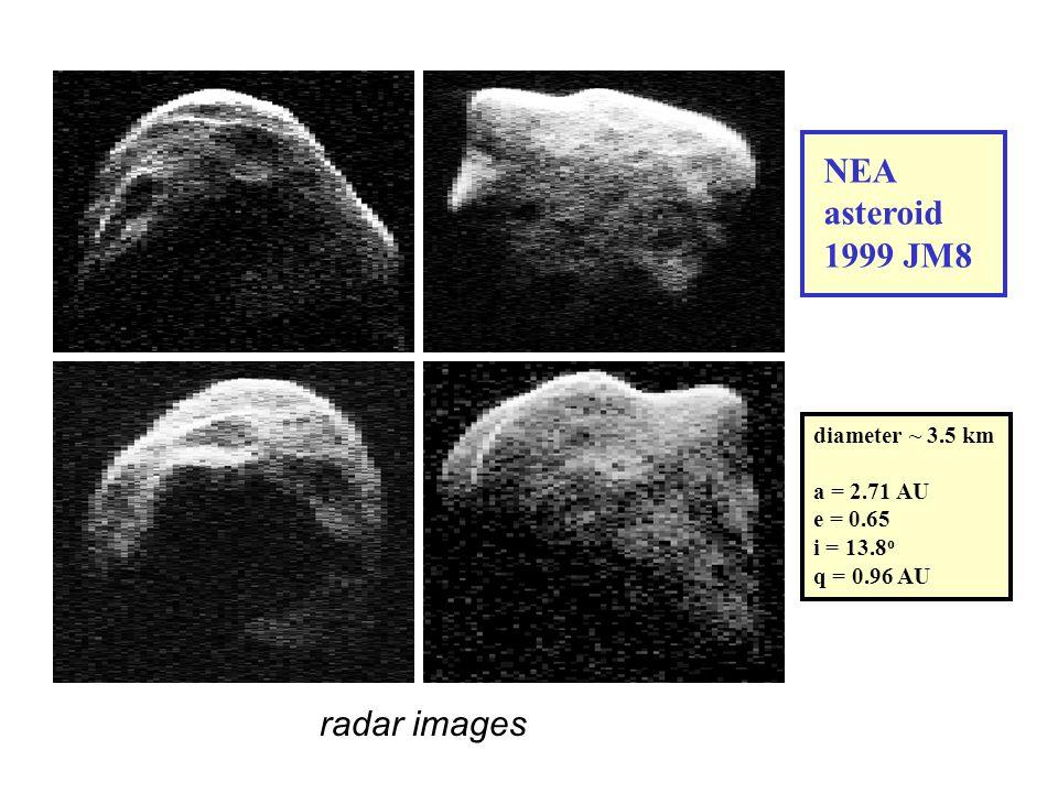 NEA asteroid 1999 JM8 diameter ~ 3.5 km a = 2.71 AU e = 0.65 i = 13.8 o q = 0.96 AU radar images