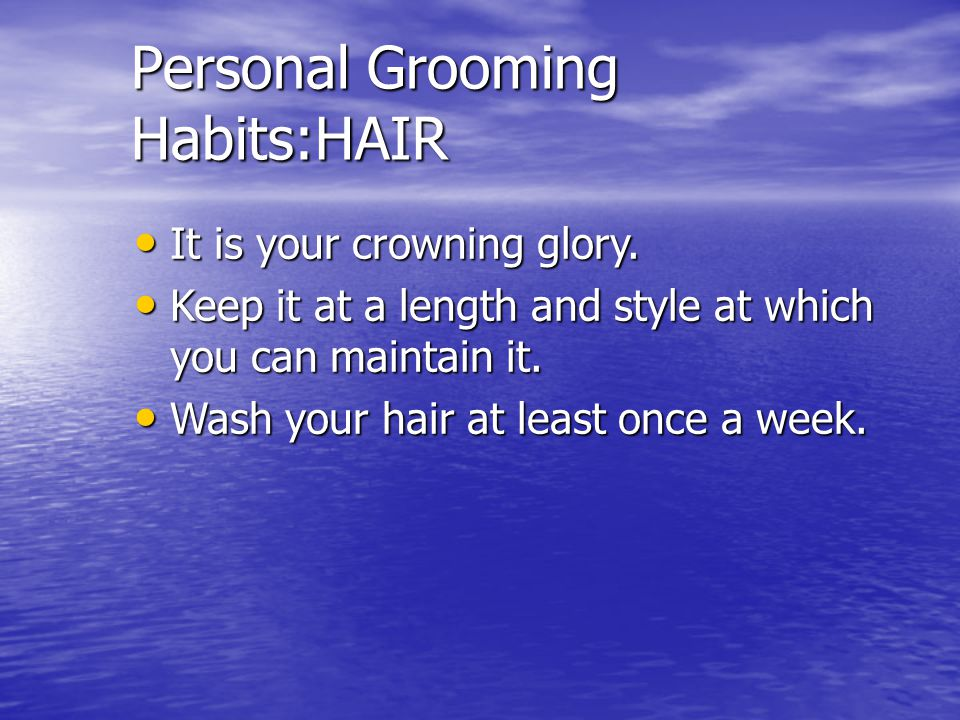 Hair styles Males: Males: Not fall over the ears,eyebrows or even touch the back of the collar Not fall over the ears,eyebrows or even touch the back of the collar Will always present a neat appearance.
