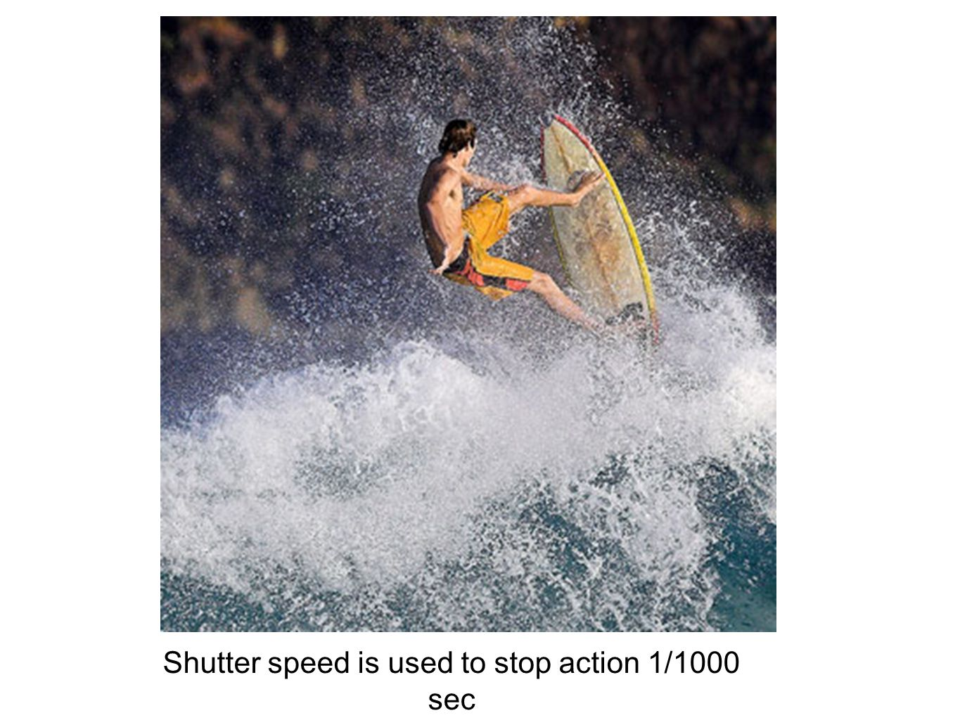 Shutter speed is used to stop action 1/1000 sec