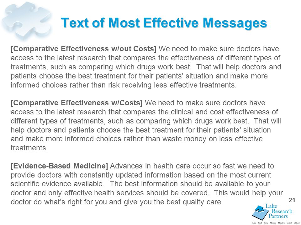 21 Text of Most Effective Messages [Comparative Effectiveness w/out Costs] We need to make sure doctors have access to the latest research that compares the effectiveness of different types of treatments, such as comparing which drugs work best.
