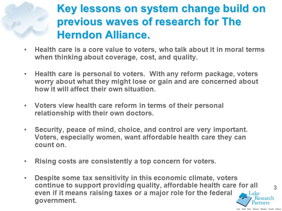 3 Key lessons on system change build on previous waves of research for The Herndon Alliance.